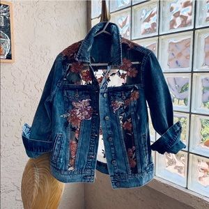 🌺OOAK Tulle Embroidery Sequin Glam Denim Jacket✨S